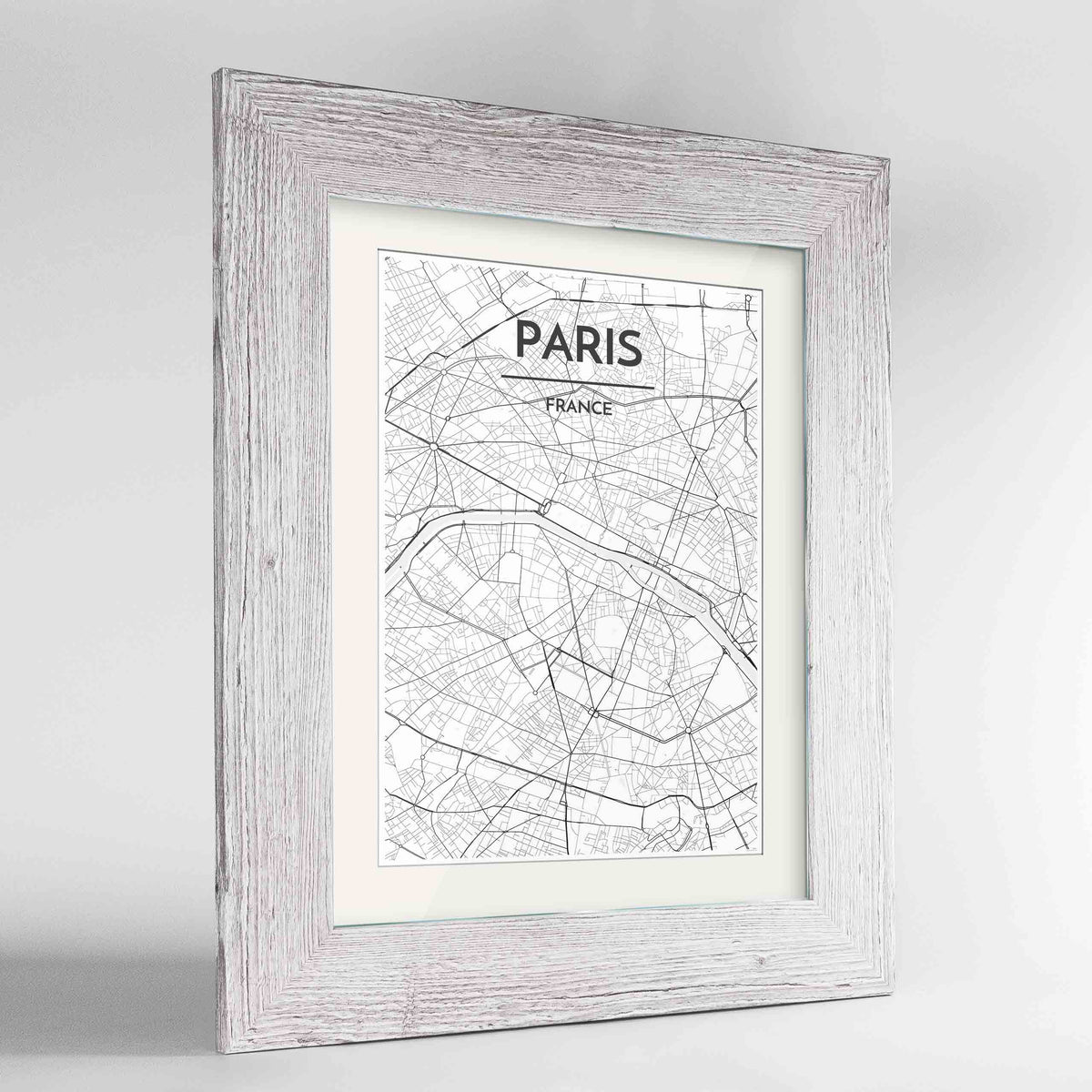 "Framed Paris Map Art Print 24x36"" Western White frame Point Two Design Group"