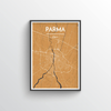 Parma City Map Art Print - Point Two Design - Black & White Print