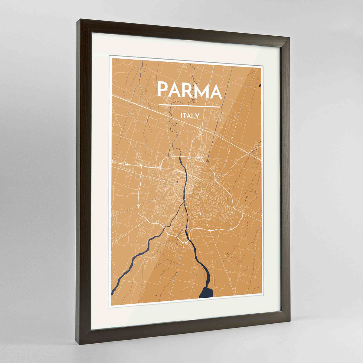 "Framed Parma Map Art Print 24x36"" Contemporary Walnut frame Point Two Design Group"