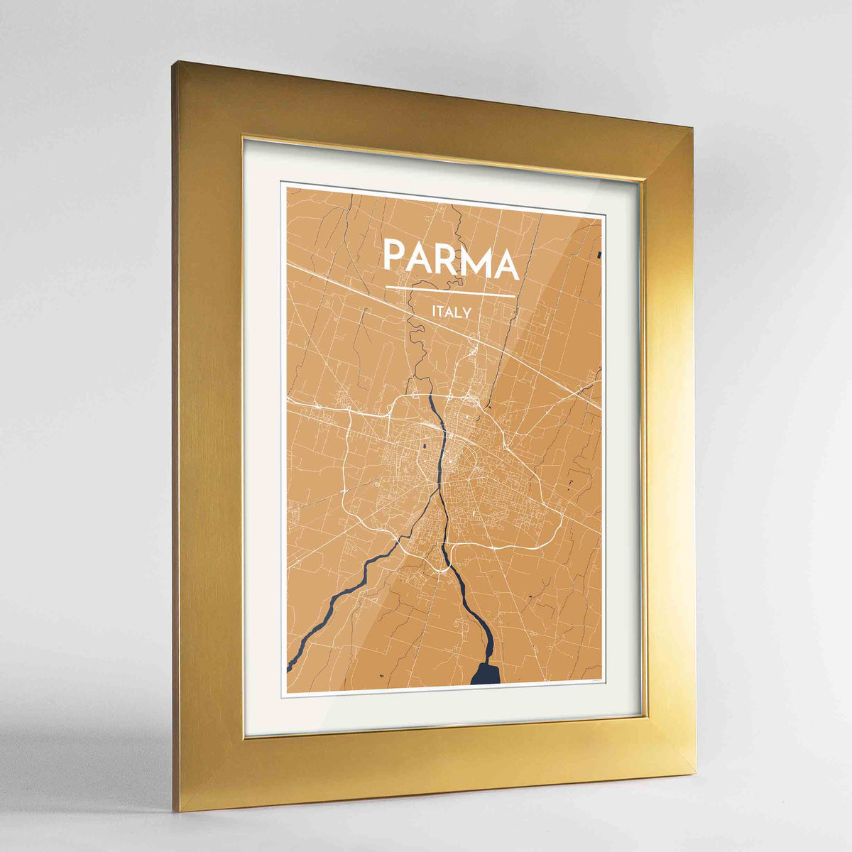 "Framed Parma Map Art Print 24x36"" Gold frame Point Two Design Group"