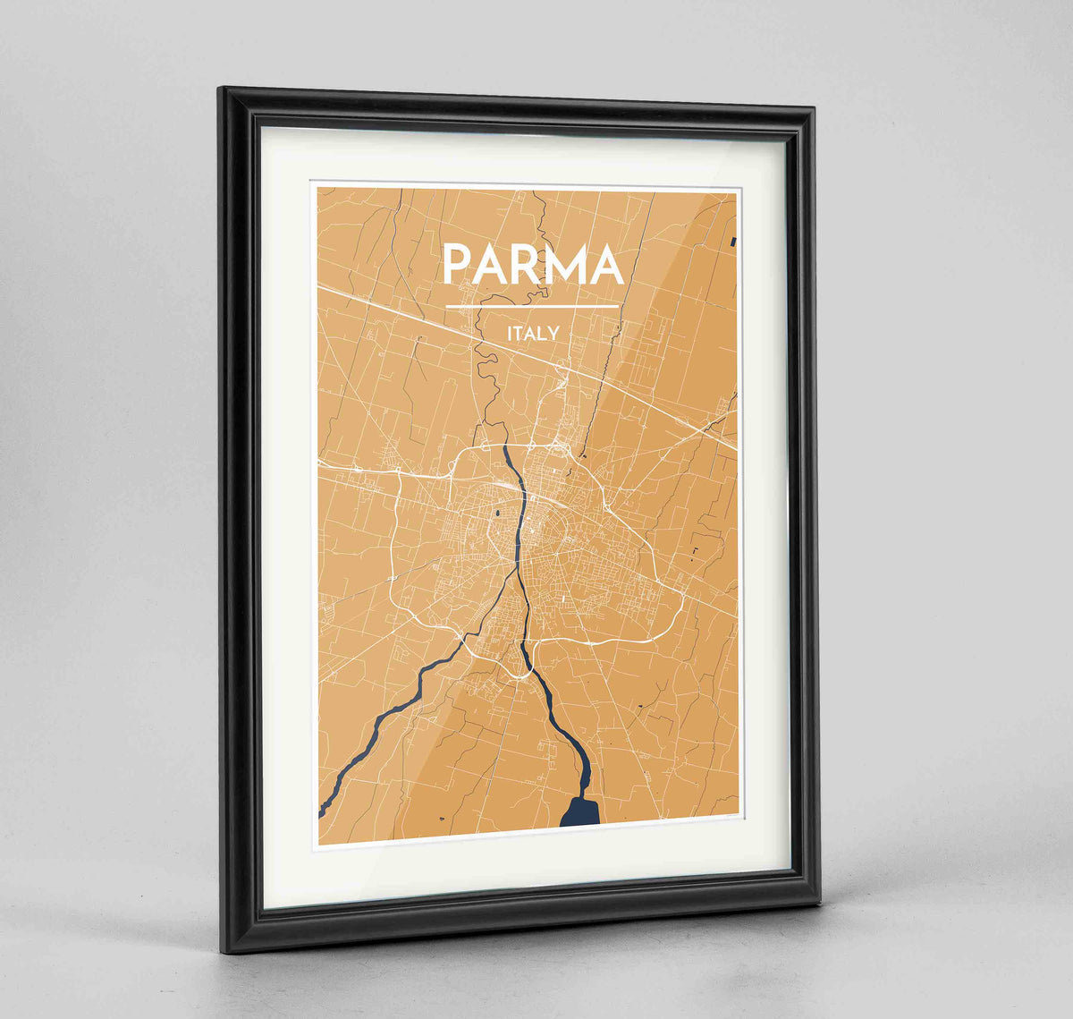 "Framed Parma Map Art Print 24x36"" Traditional Black frame Point Two Design Group"