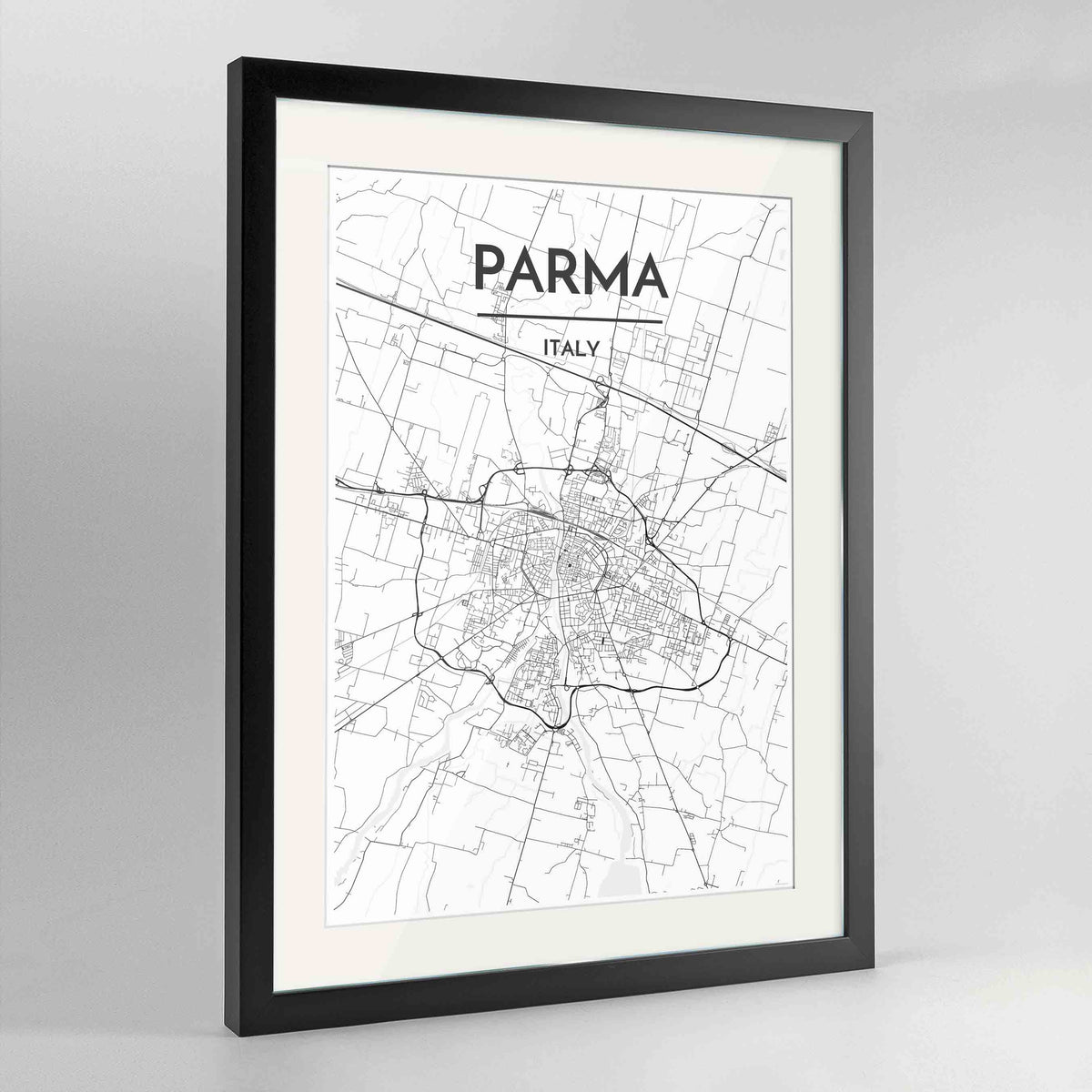"Framed Parma Map Art Print 24x36"" Contemporary Black frame Point Two Design Group"