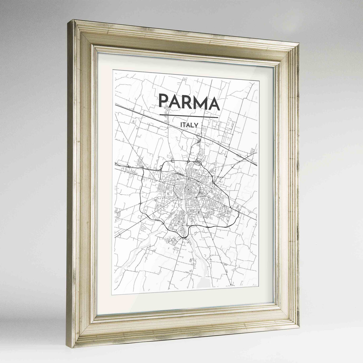 "Framed Parma Map Art Print 24x36"" Champagne frame Point Two Design Group"