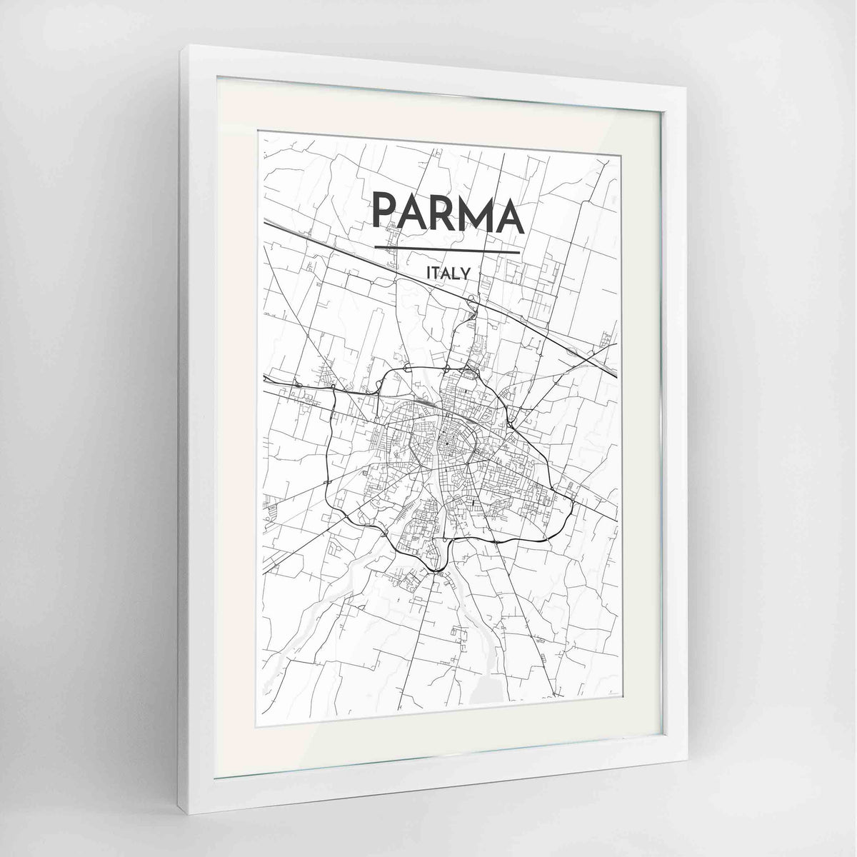 "Framed Parma Map Art Print 24x36"" Contemporary White frame Point Two Design Group"