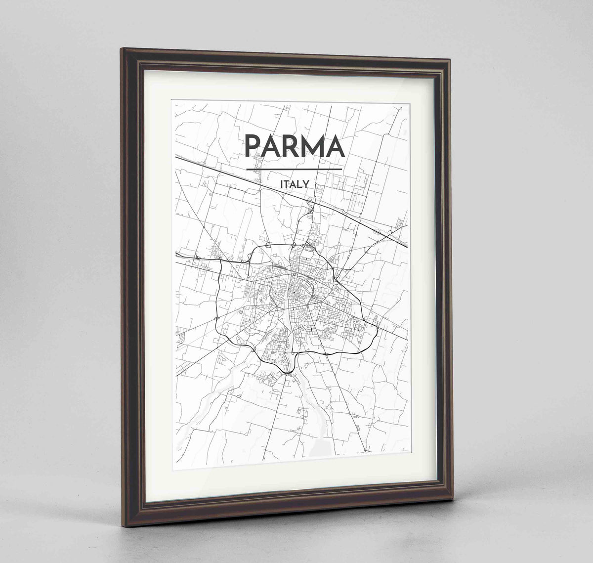 "Framed Parma Map Art Print 24x36"" Traditional Walnut frame Point Two Design Group"