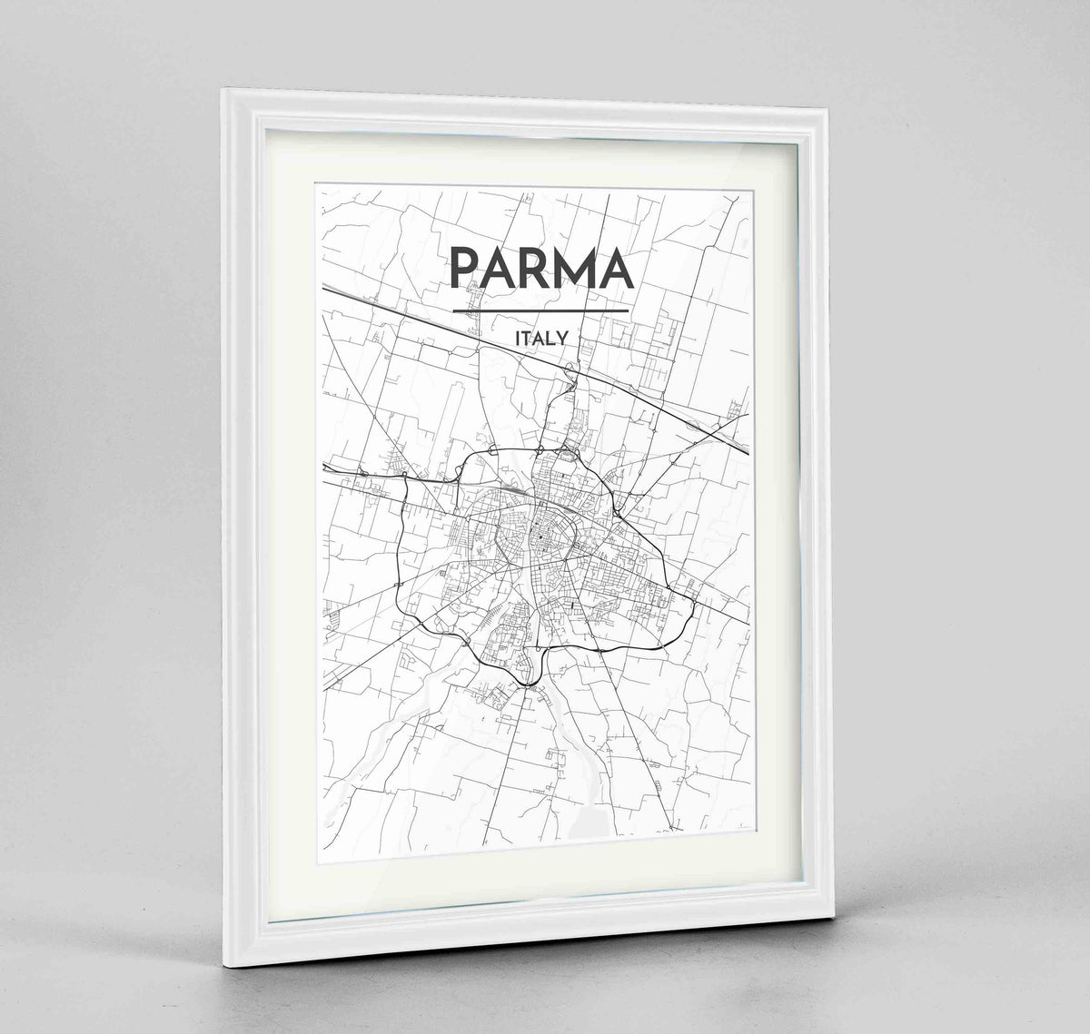 "Framed Parma Map Art Print 24x36"" Traditional White frame Point Two Design Group"
