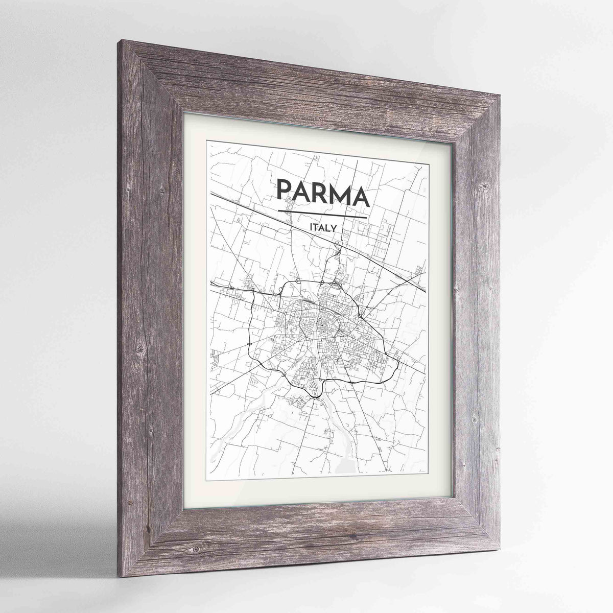 "Framed Parma Map Art Print 24x36"" Western Grey frame Point Two Design Group"