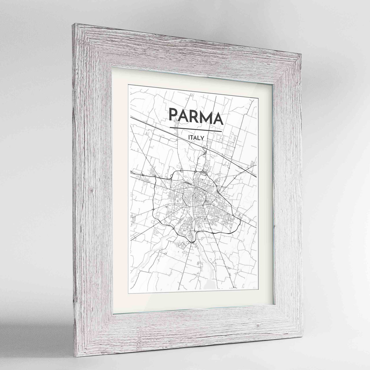 "Framed Parma Map Art Print 24x36"" Western White frame Point Two Design Group"