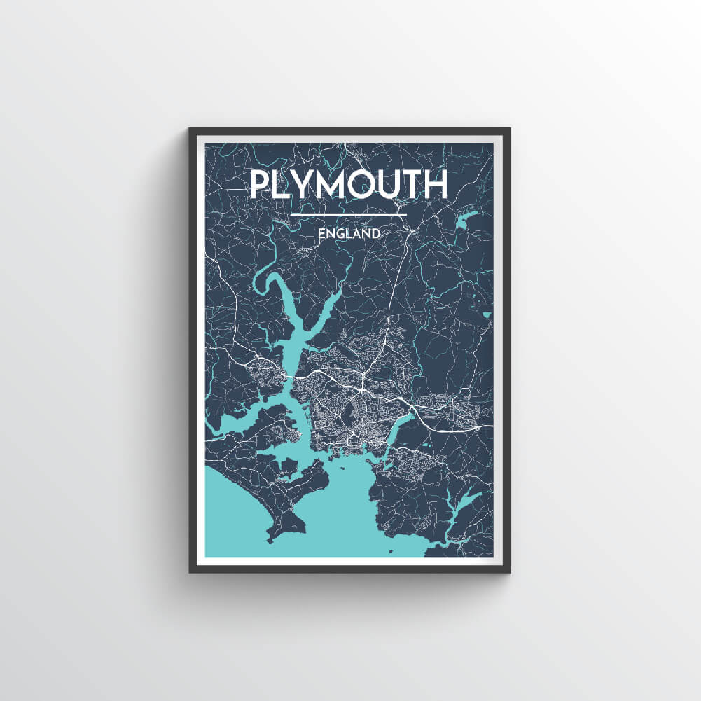 Plymouth City Map Art Print - Point Two Design - Black & White Print