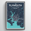Plymouth City Map Art Print - Point Two Design