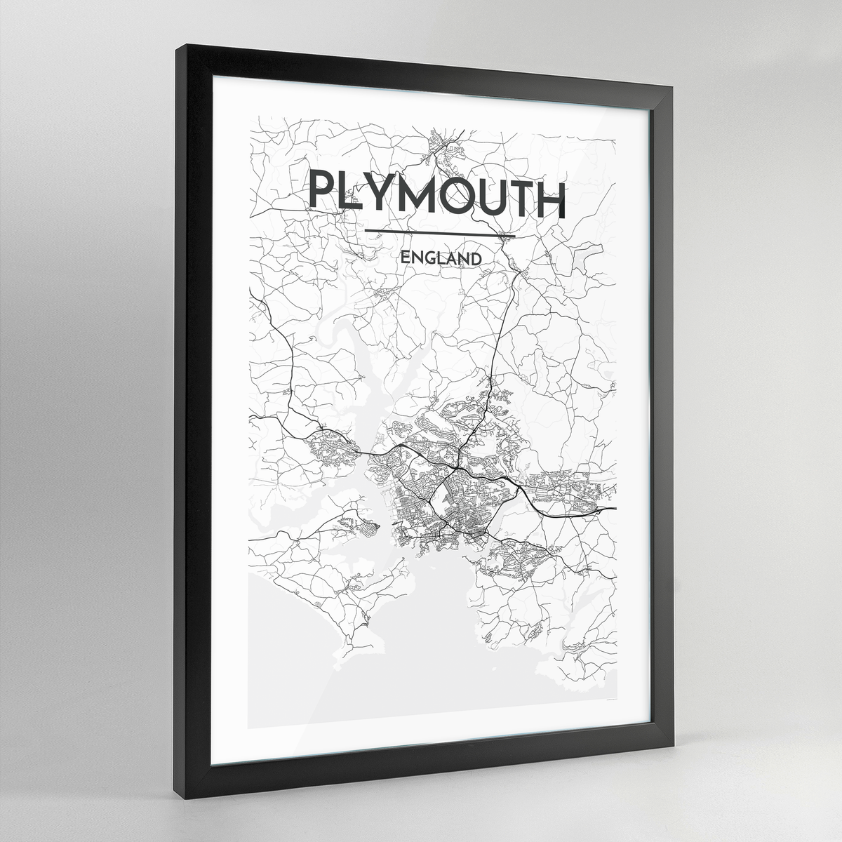 Plymouth Map Art Print - Framed