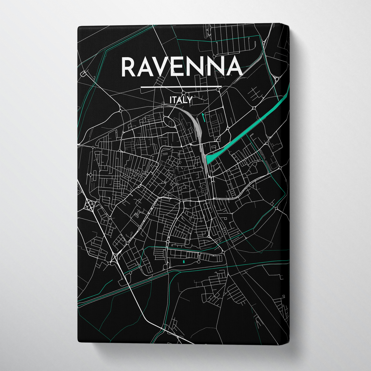 Ravenna City Map Canvas Wrap - Point Two Design