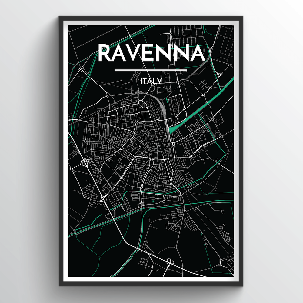 Ravenna City Map Art Print - Point Two Design