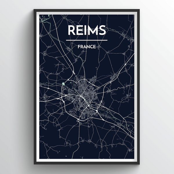 Reims City Map Art Print - Point Two Design