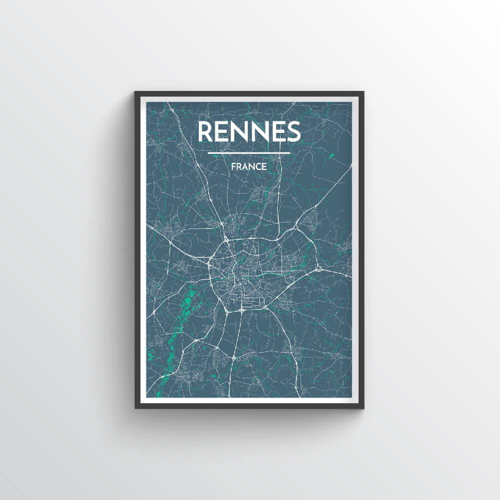 Rennes City Map Art Print - Point Two Design - Black & White Print