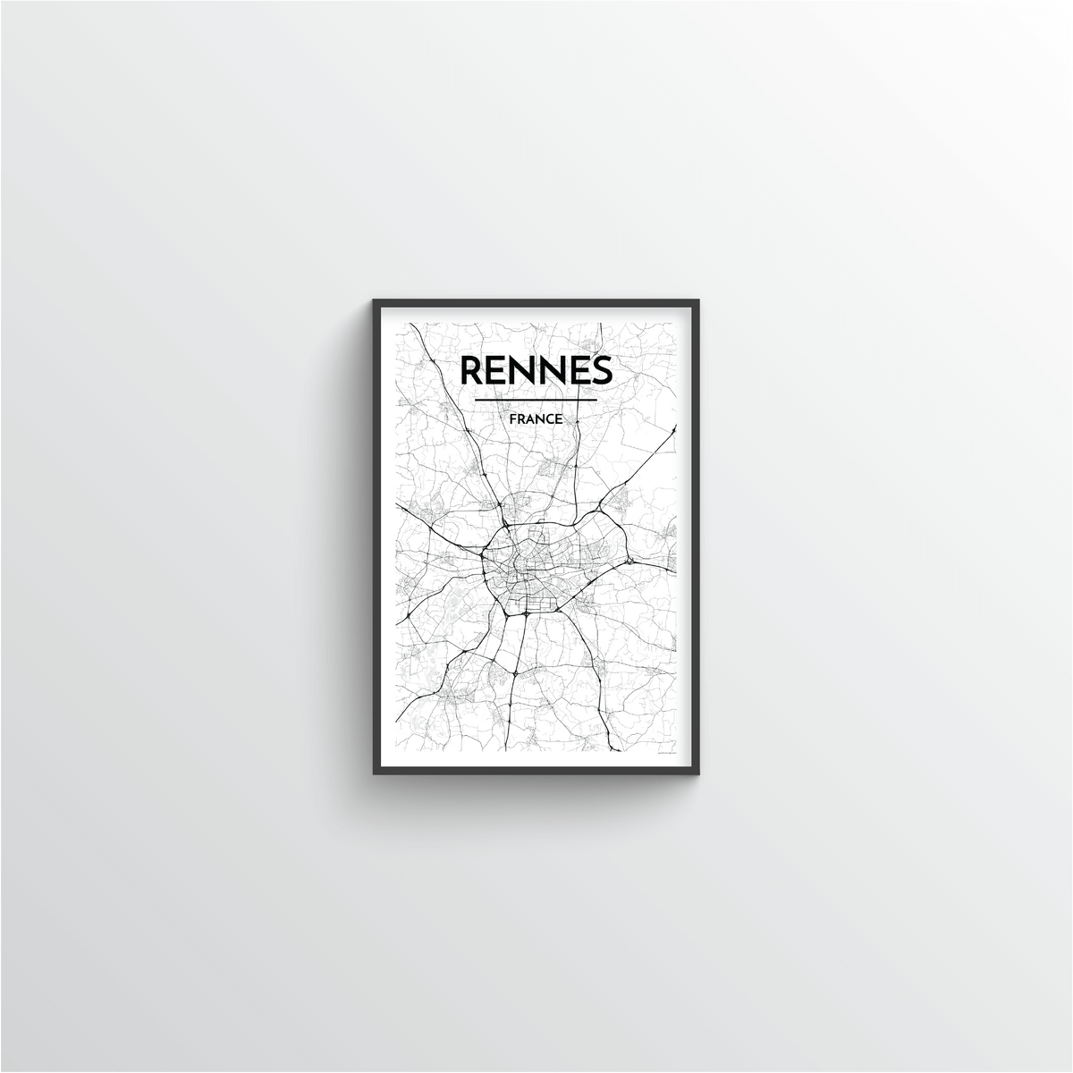 Rennes Map Art Print