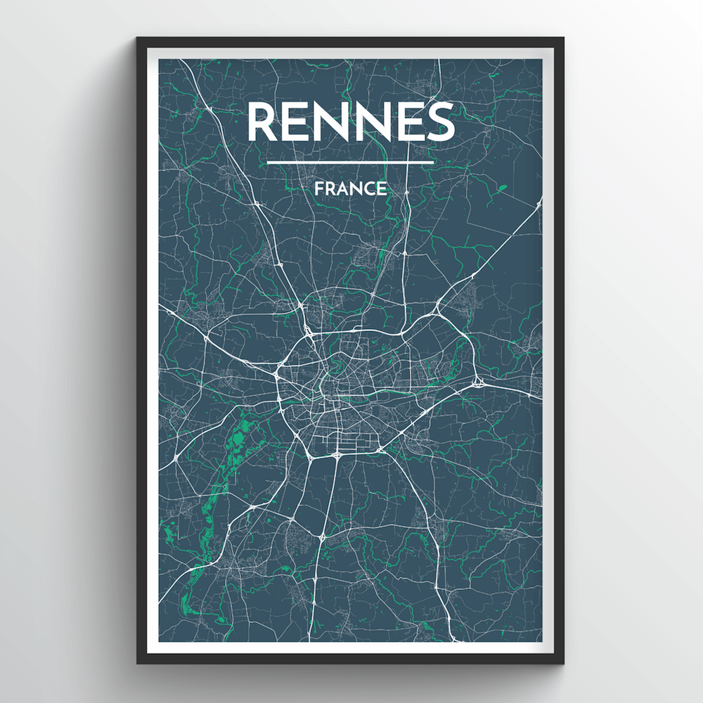 Rennes City Map Art Print - Point Two Design