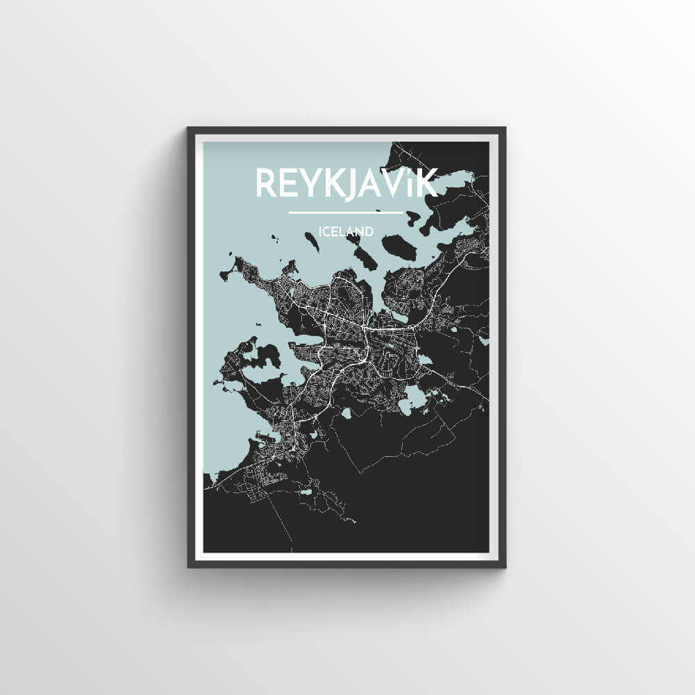 Reykjavik City Map Art Print - Point Two Design - Black & White Print