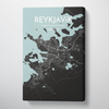 Reykjavik City Map Canvas Wrap - Point Two Design
