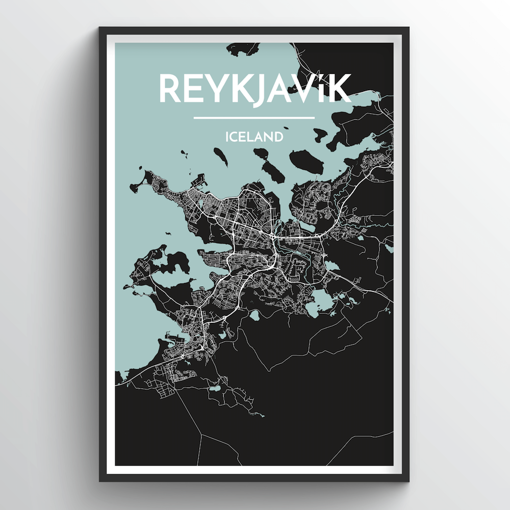 Reykjavik City Map Art Print - Point Two Design