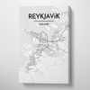 Reykjavik City Map Canvas Wrap - Point Two Design - Black & White Print