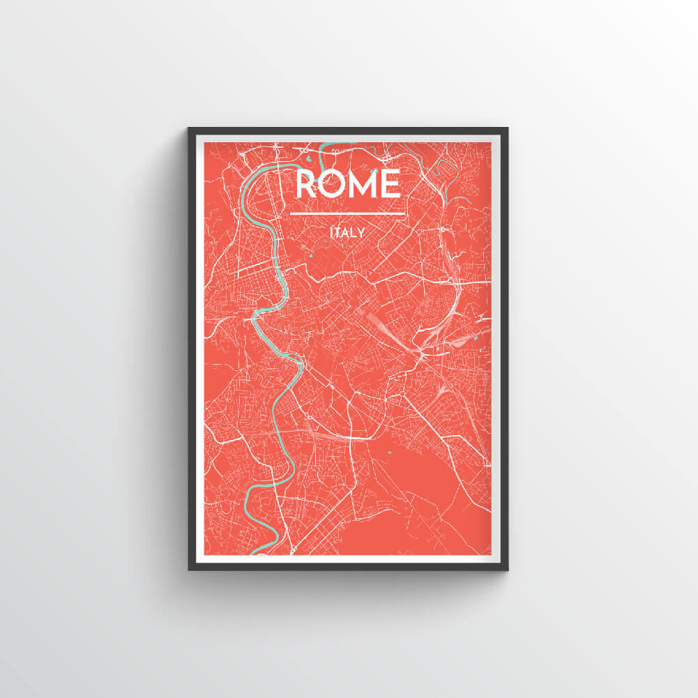 Rome City Map Art Print - Point Two Design - Black & White Print