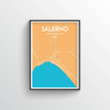 Salerno City Map Art Print - Point Two Design - Black & White Print
