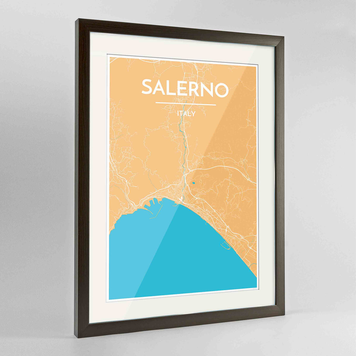 "Framed Salerno Map Art Print 24x36"" Contemporary Walnut frame Point Two Design Group"
