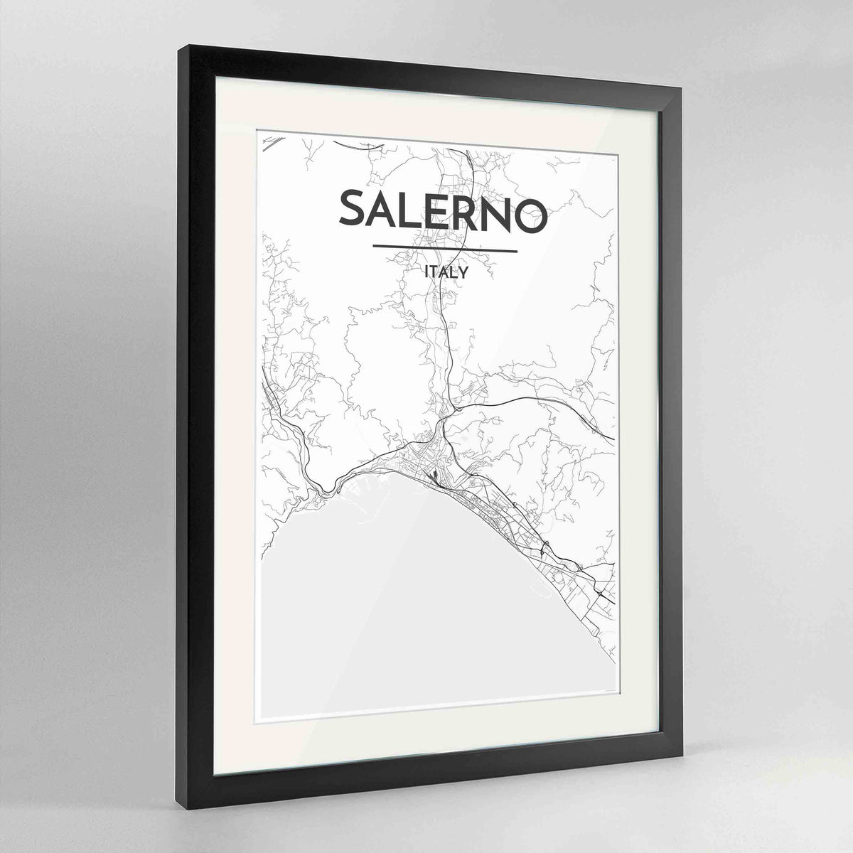 "Framed Salerno Map Art Print 24x36"" Contemporary Black frame Point Two Design Group"