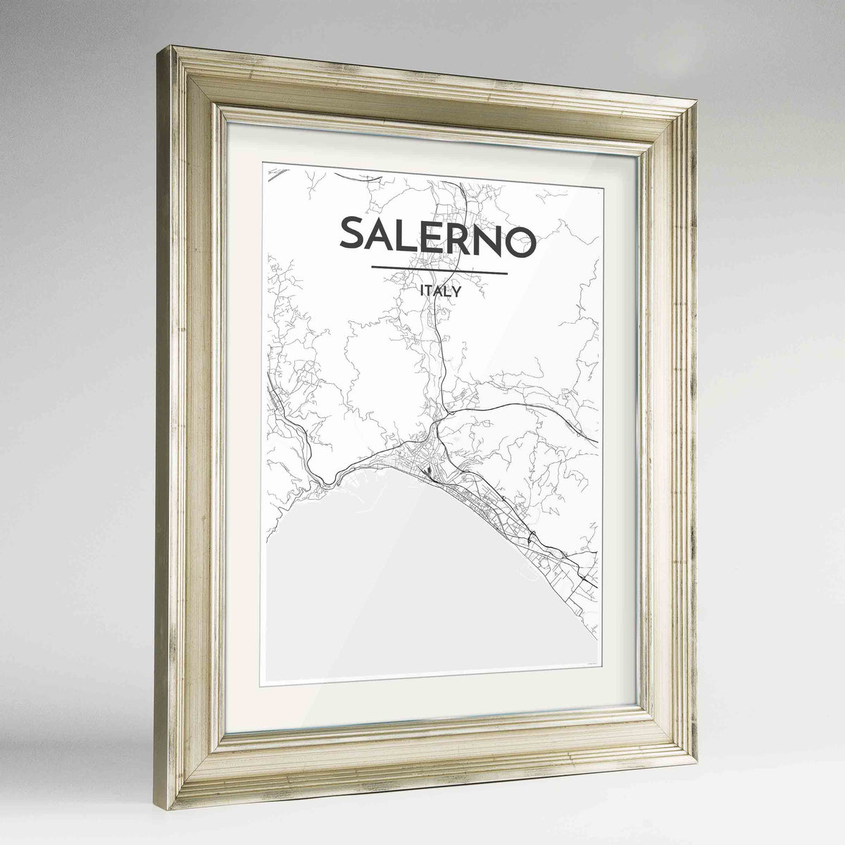 "Framed Salerno Map Art Print 24x36"" Champagne frame Point Two Design Group"