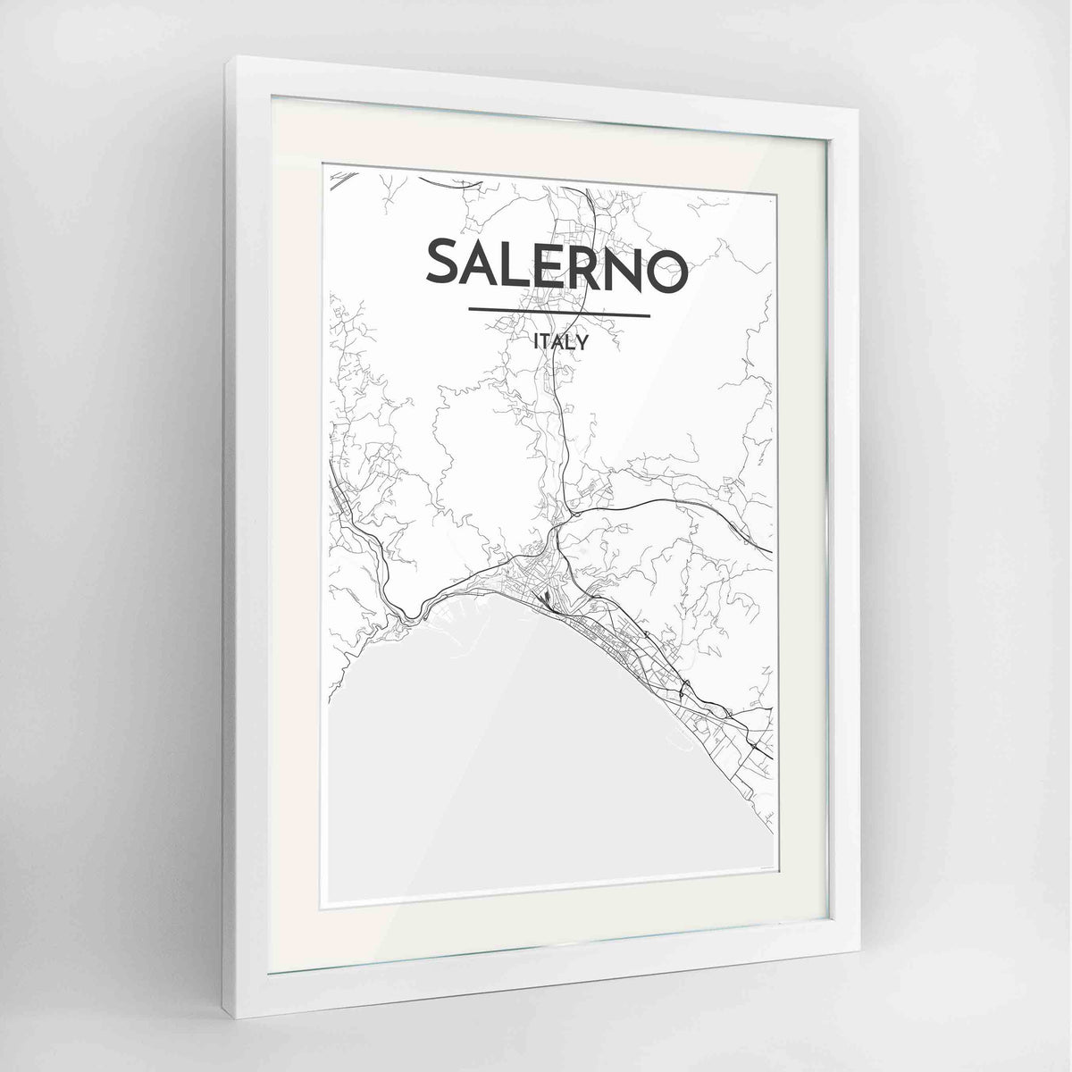 "Framed Salerno Map Art Print 24x36"" Contemporary White frame Point Two Design Group"