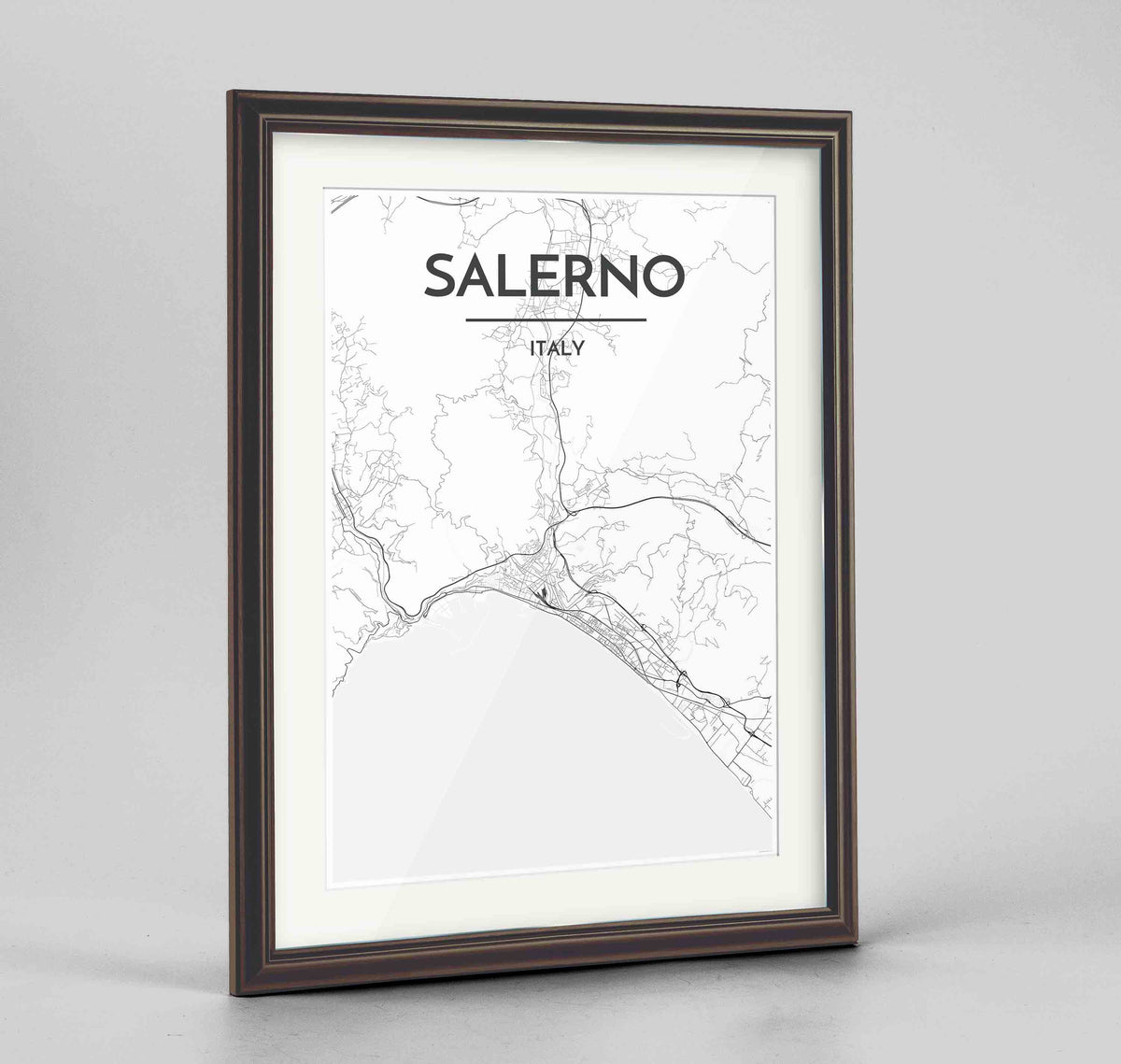 "Framed Salerno Map Art Print 24x36"" Traditional Walnut frame Point Two Design Group"