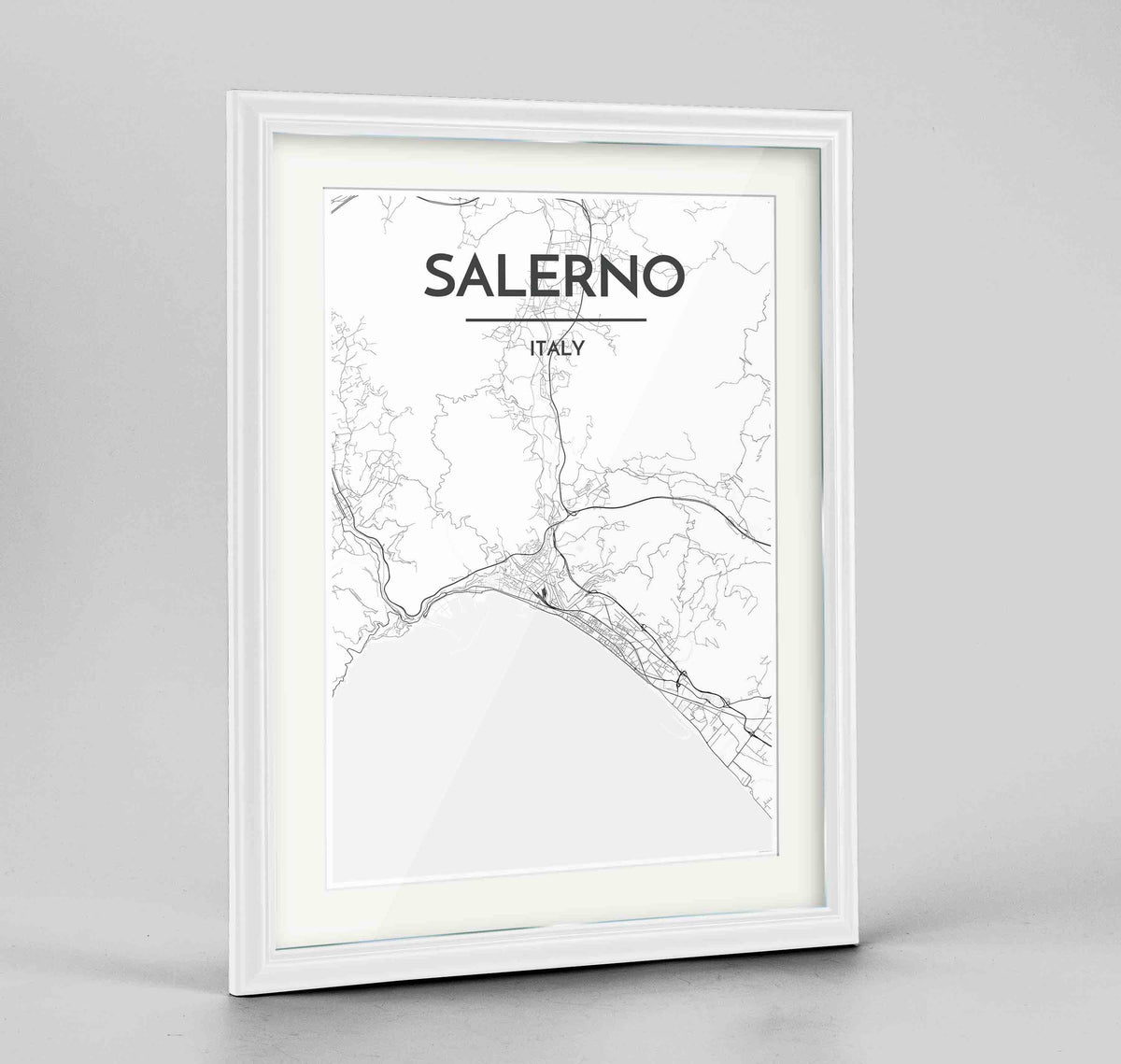 "Framed Salerno Map Art Print 24x36"" Traditional White frame Point Two Design Group"