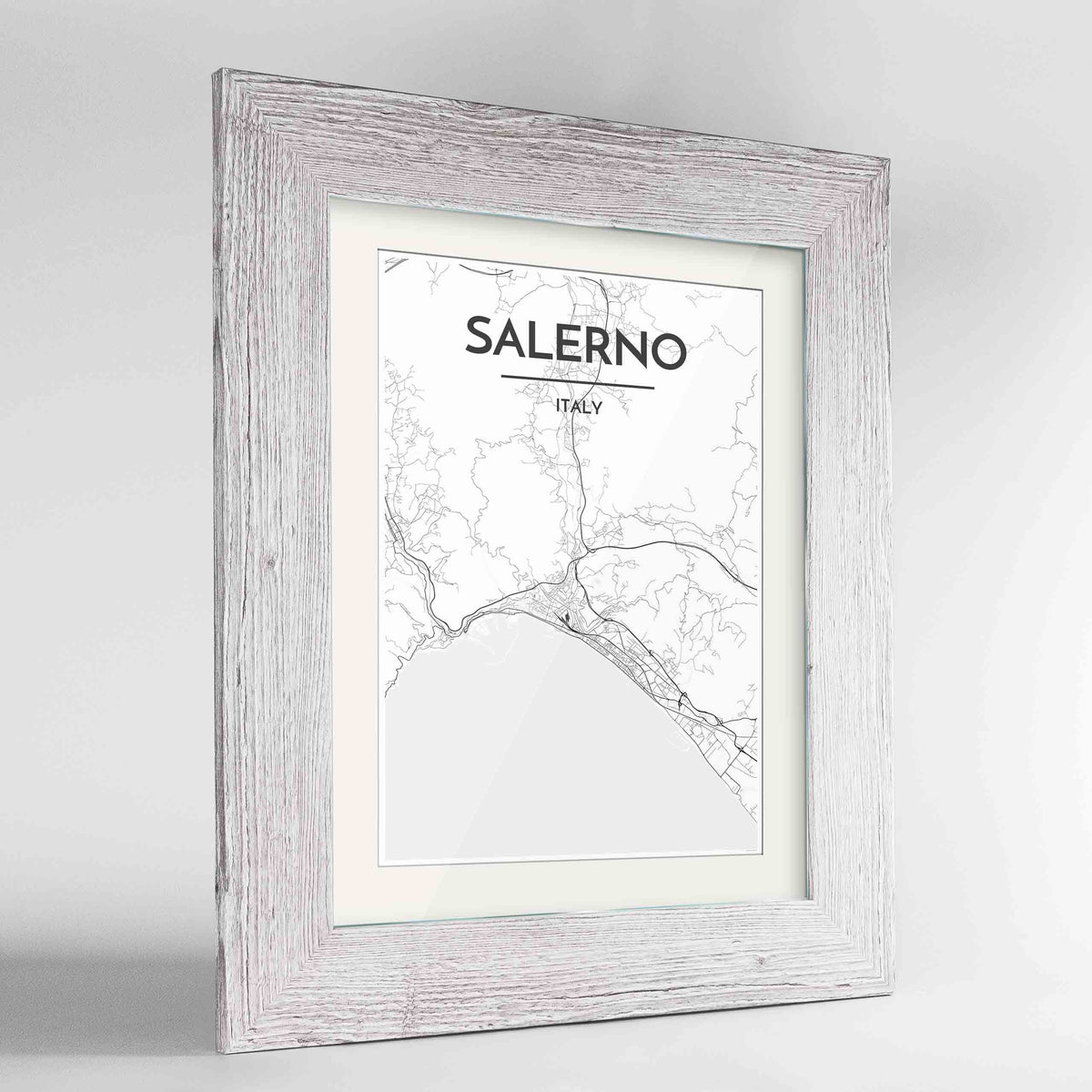 "Framed Salerno Map Art Print 24x36"" Western White frame Point Two Design Group"