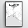 Salerno City Map Art Print - Point Two Design
