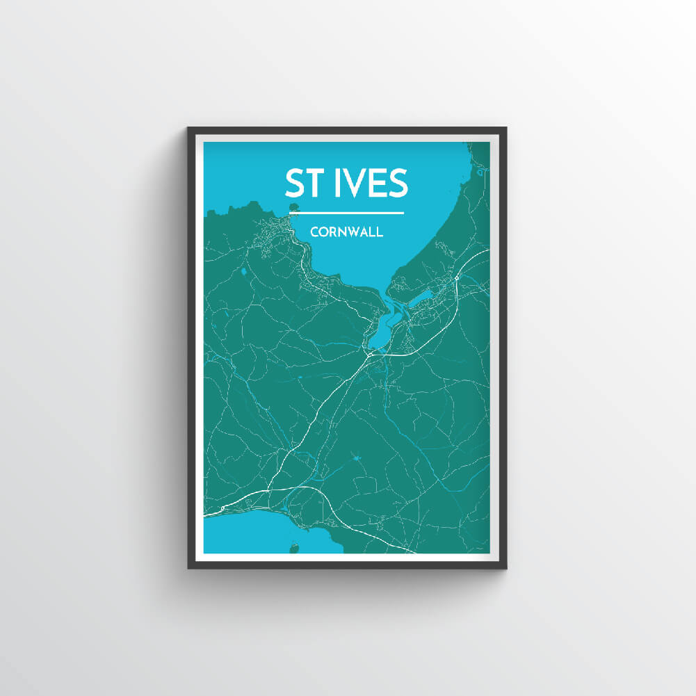 St Ives City Map Art Print - Point Two Design - Black & White Print