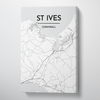 St Ives City Map Canvas Wrap - Point Two Design - Black & White Print