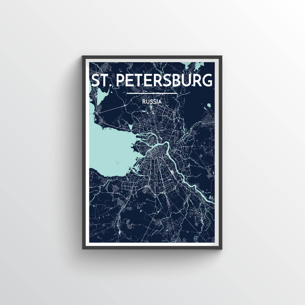 St Petersburg City Map Art Print - Point Two Design - Black & White Print