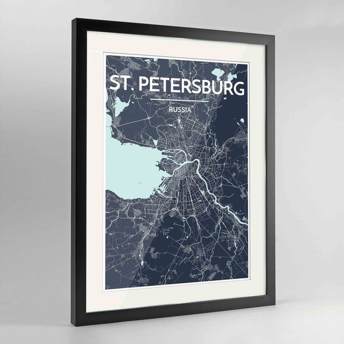 "Framed St Petersburg 24x36"" Contemporary Black frame Point Two Design Group"