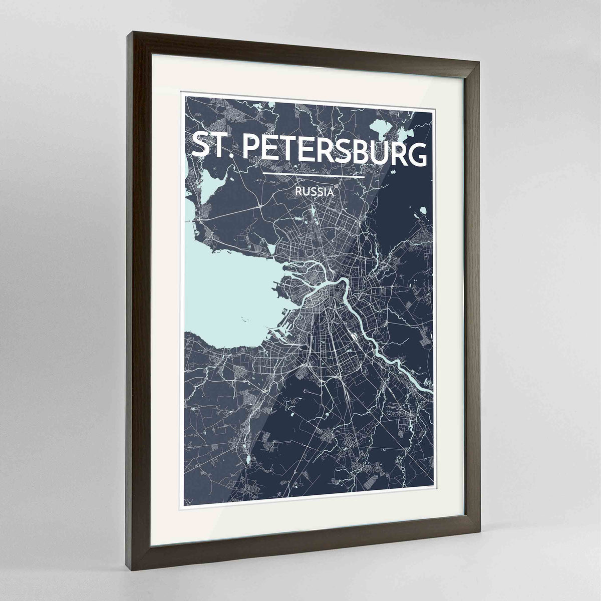 "Framed St Petersburg 24x36"" Contemporary Walnut frame Point Two Design Group"