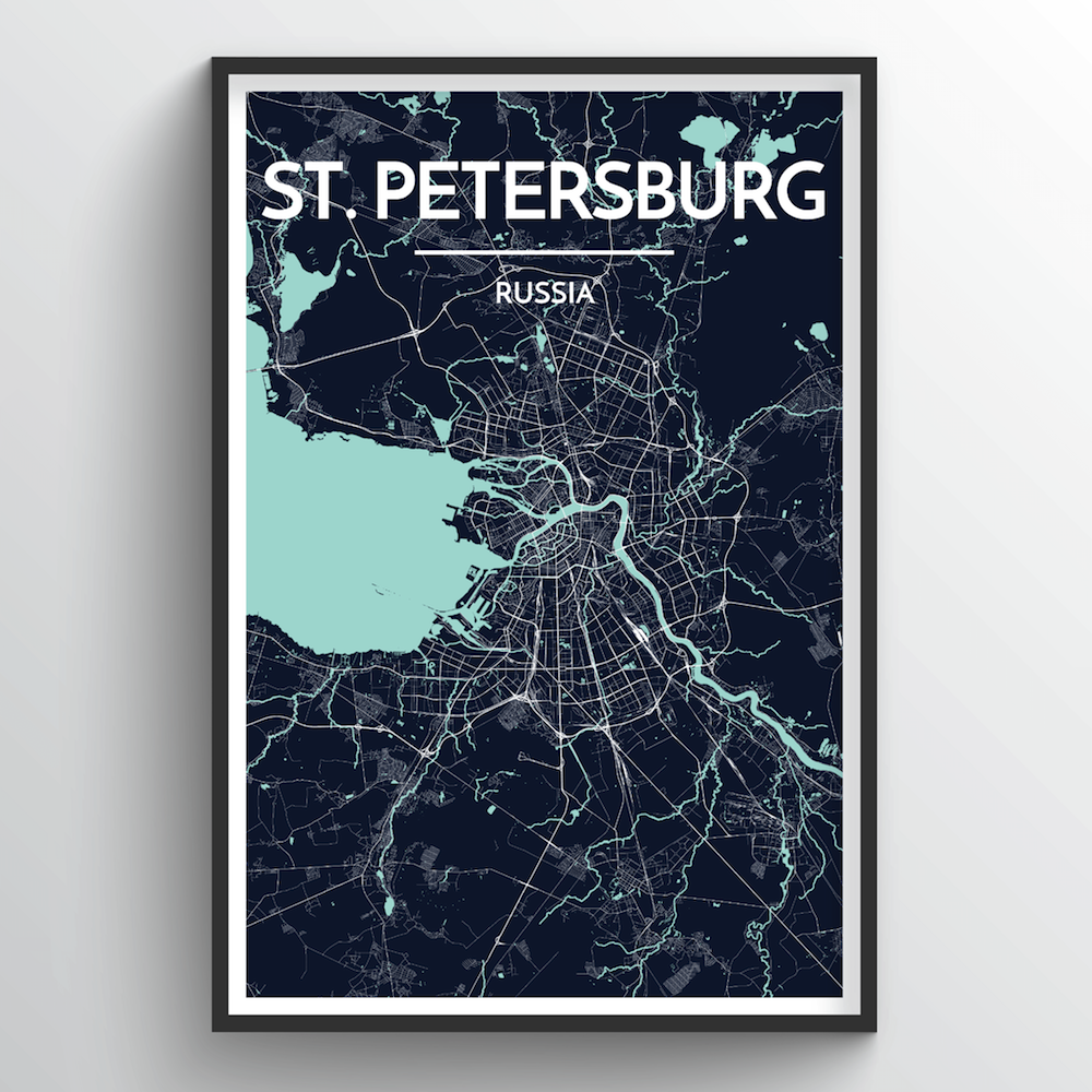 St Petersburg City Map Art Print - Point Two Design