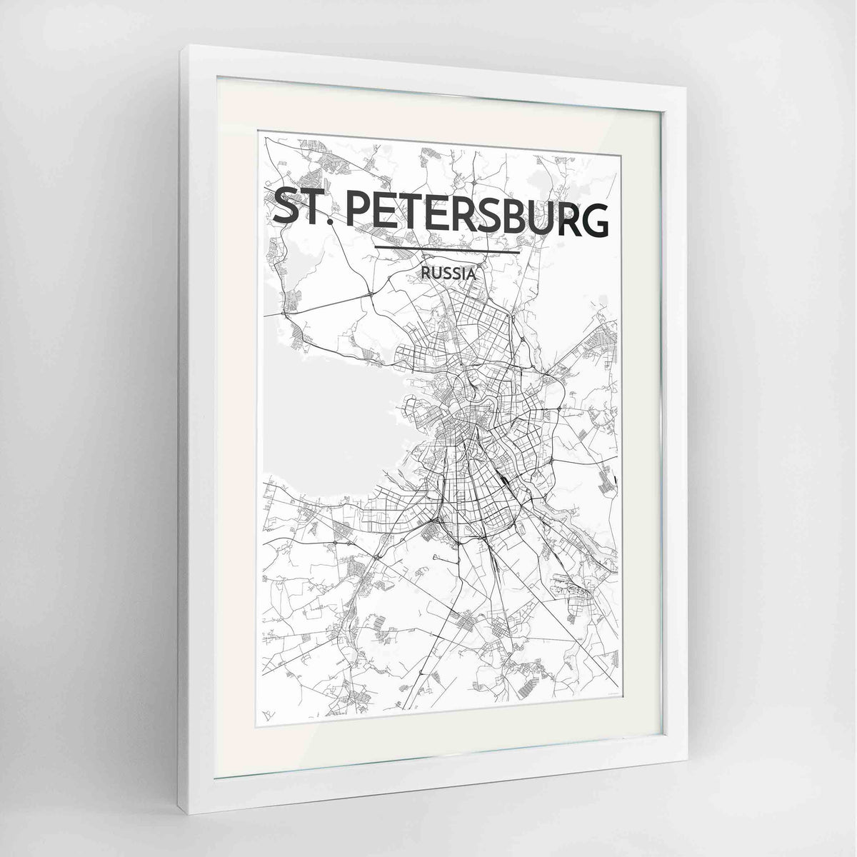 "Framed St Petersburg 24x36"" Contemporary White frame Point Two Design Group"