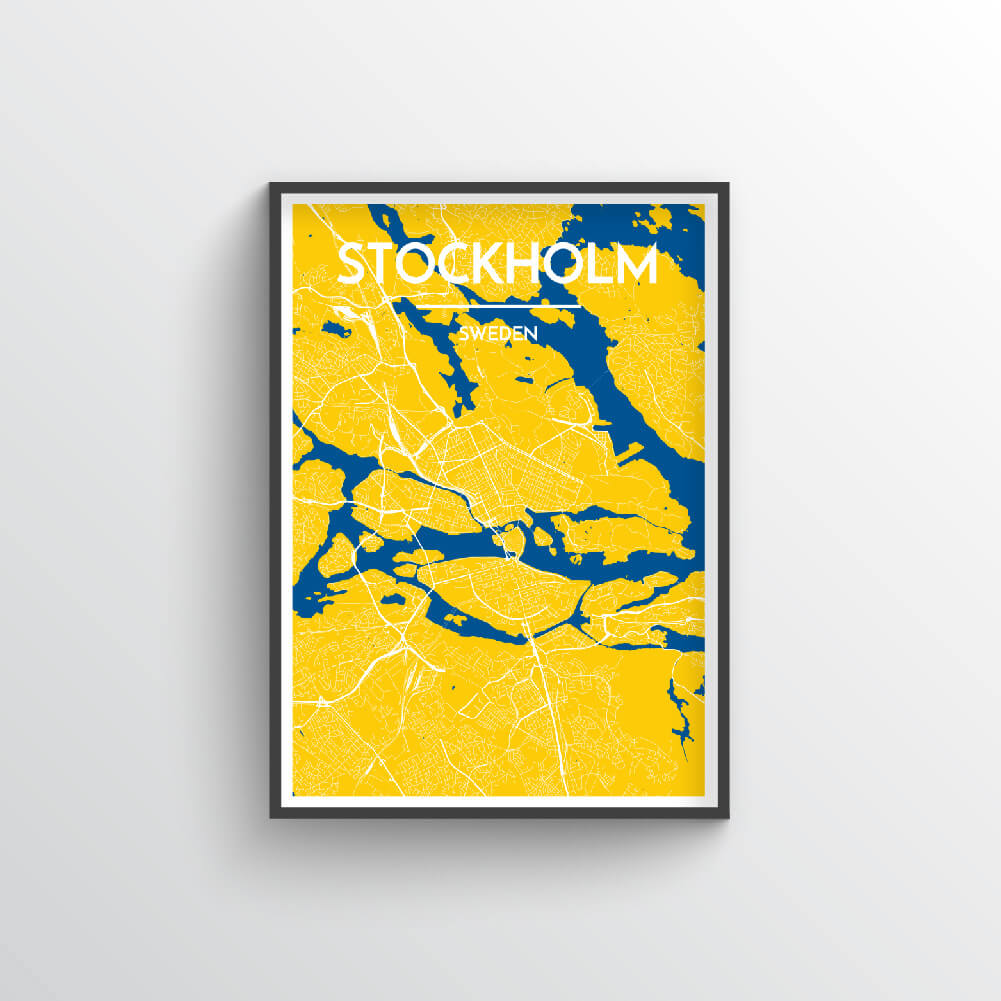 Stockholm City Map Art Print - Point Two Design - Black & White Print