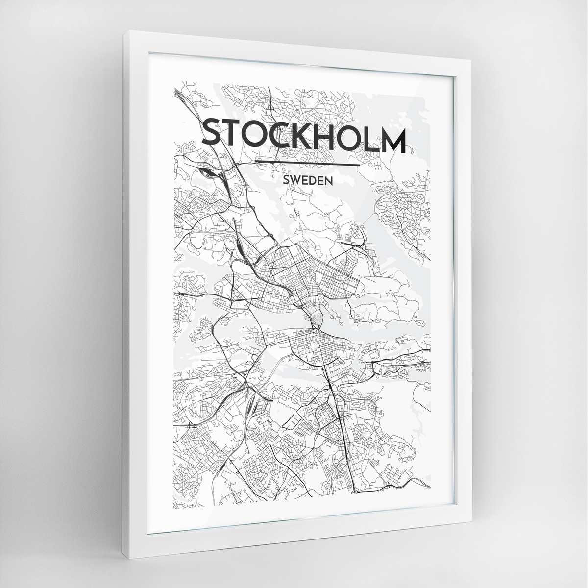 Stockholm Map Art Print - Framed