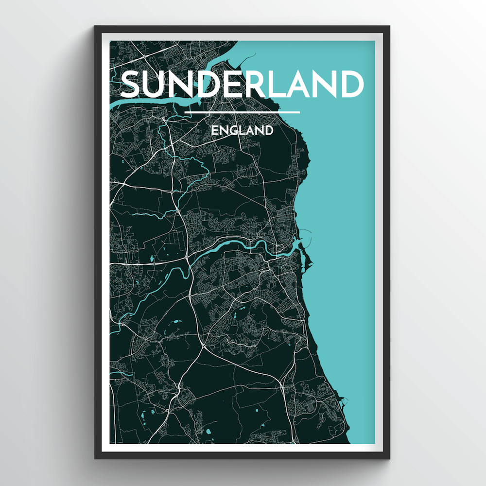 Sunderland City Map Art Print - Point Two Design