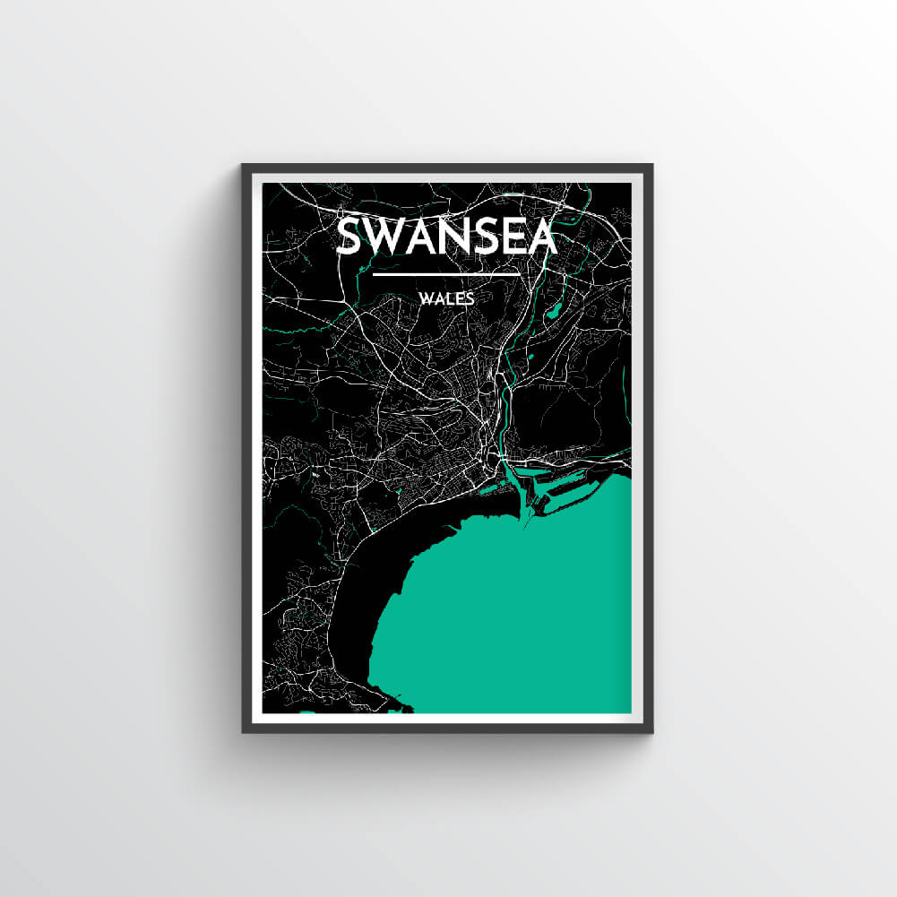 Swansea City Map Art Print - Point Two Design - Black & White Print