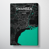 Swansea City Map Canvas Wrap - Point Two Design
