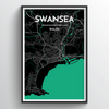 Swansea City Map Art Print - Point Two Design