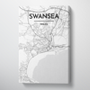 Swansea City Map Canvas Wrap - Point Two Design - Black & White Print
