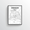Swindon City Map Art Print - Point Two Design